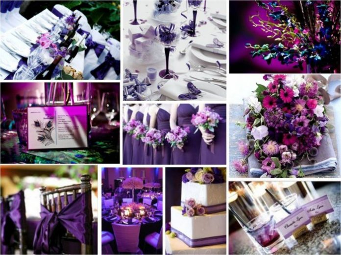 Mariage avec la couleur violet