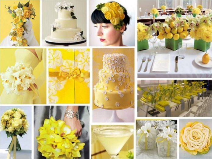 Mariage avec la couleur jaune