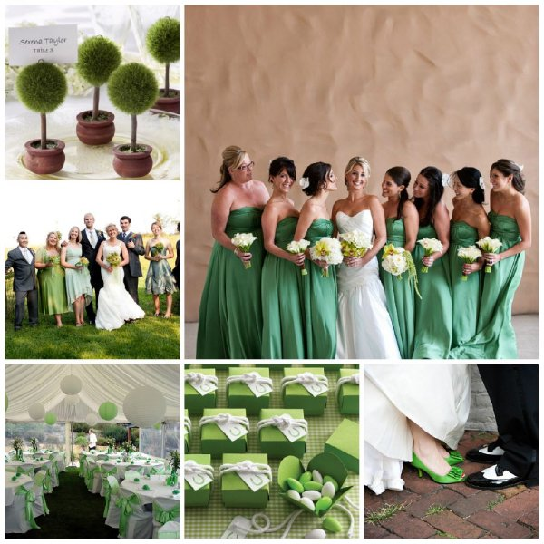 Mariage avec la couleur vert