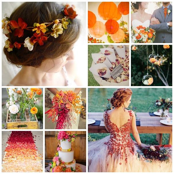 Mariage avec la couleur orange